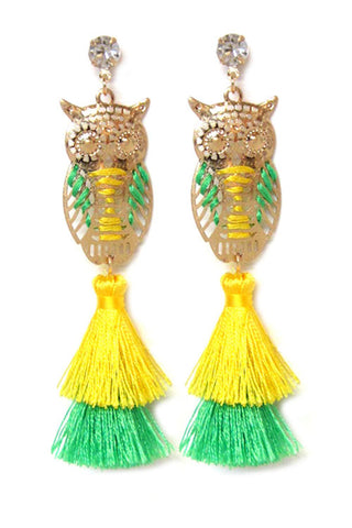 Owl Tassel Post Earrings