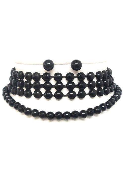 Multi Round Bead Choker Set