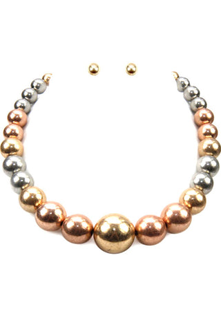 Metal Ball Necklace Set