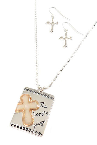 Lord's Prayer Engraved Pendant Necklace