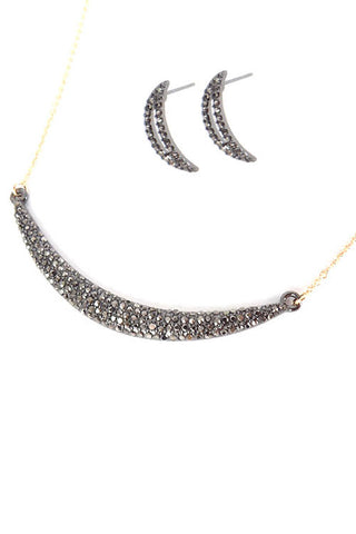 Curved Bar Pave Necklace