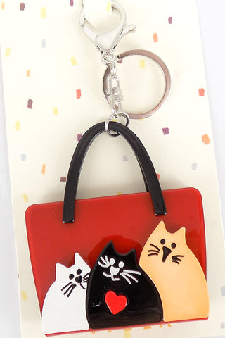 Cat In The Bag Mirror Key Chain