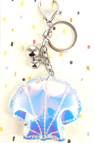 Holographic Clam Key Chain
