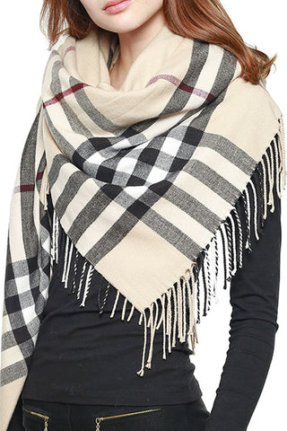 PLAID CHECK BLANKET SQUARE SCARF