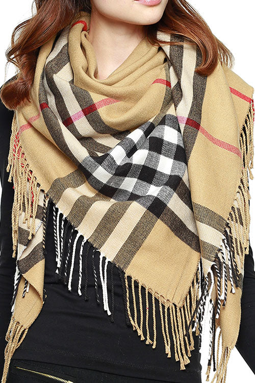 (6PCS) PLAID CHECK BLANKET SQUARE SCARF