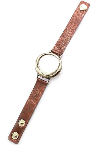 Leather Pendant Adjustable Bracelet