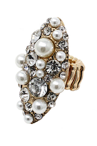 Stone & Pearl Stretch Ring