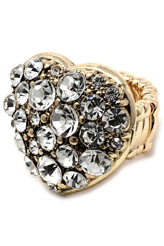 Stone Heart Shape Stretch Ring