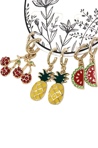 Fashion Tropical Fruits Drop Post Earrings