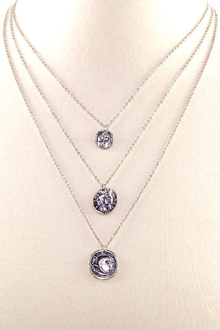 Coin Pendant Metal Necklace Set