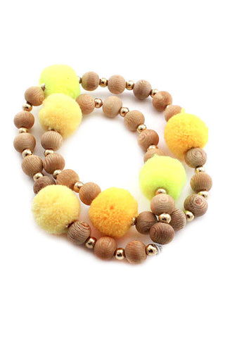 (3PCS) Pom Pom Stretchable Bracelets