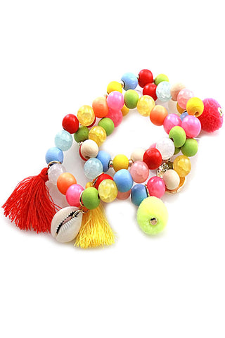 (6PCS) Bead Stretchable Bracelets