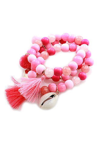 (6PCS) Fashion Bead Stretchable Bracelets