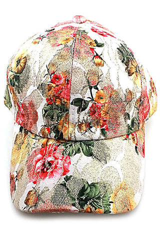 Flower Imprinted Fashion Cap