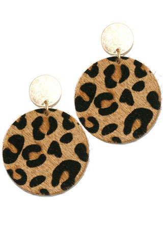 Leopard Print Faux Fur Post Earrings