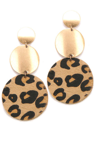 Faux Fur Leopard Print Post Earrings