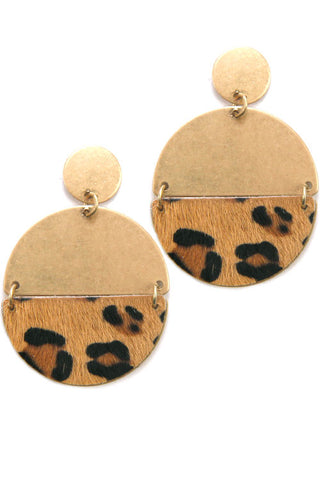 Half Circle Leopard Faux Fur Plate Post Earrings
