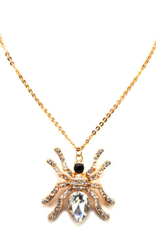 Rhinestone Pendant Spider Necklace