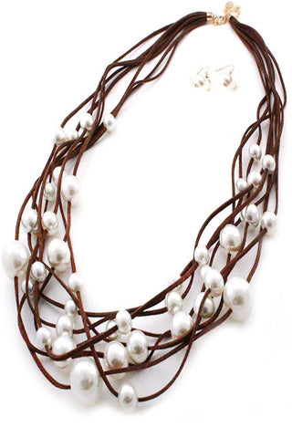 Suede Pearl Necklace Set