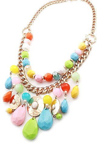 (3pcs) Color Bead Necklace Set