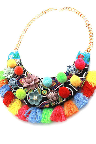 (3PCS) Flower Bib Necklace Set
