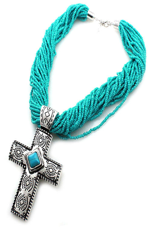 Bead Western Cross Necklace