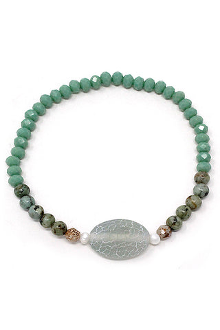 (3PCS) Stone Bead Stretch Bracelet