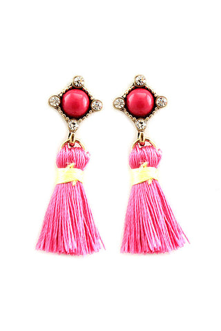 Tassel Rhinestones Post Earrings