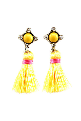 (6PCS) Tassel Rhinestones Post Earrings