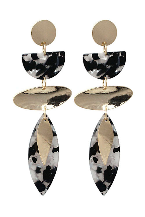(2PCS) Metal Drop Post Earrings