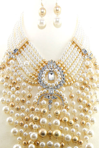 Binge Pearl Stone Necklace Set