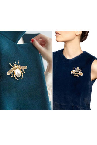 Metal Stones Bee Pin