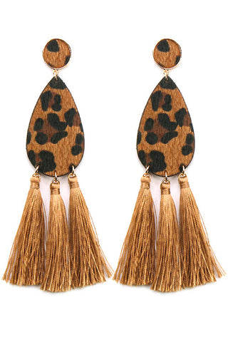 Leopard Faux Fur Drop Post Earrings