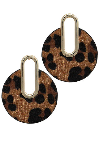 Leopard Print Post Style Earrings