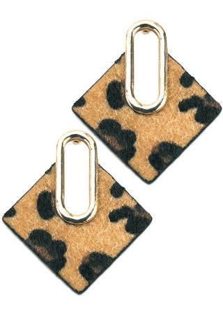 Faux Fur Cheetah Post Earrings