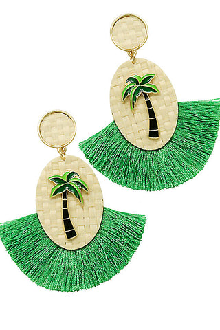 Fashion Coconut Trees Rattan Tassel Post Earrings