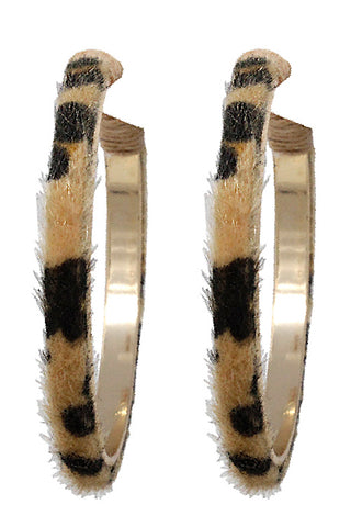 Faux Fur Leopard Hoop Post Earrings