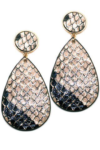 Faux Leather Snakeskin Post Earrings