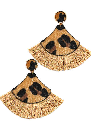 Leopard Print Faux Fur Drop Post Earrings