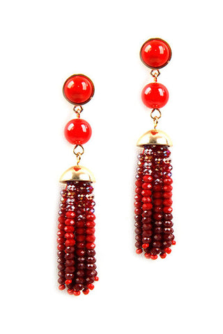 (6PCS) Tassel Glass Bead Earrings