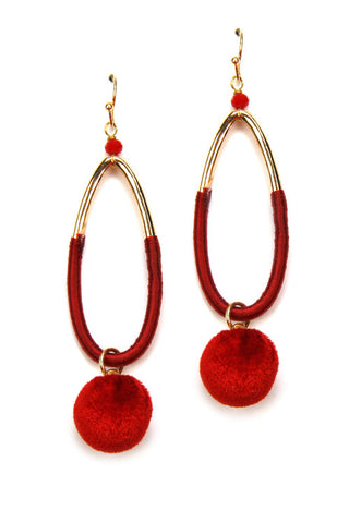 Velvet Oval Hook Earrings