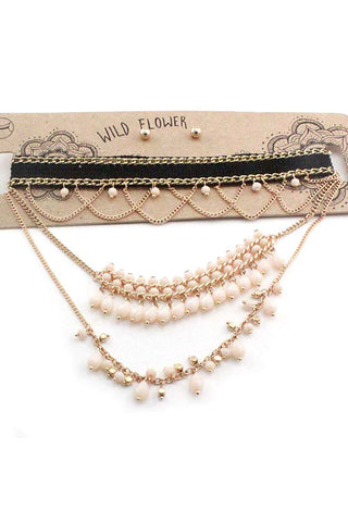 Fabric Chain Choker Necklace Set