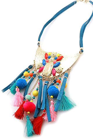 Tassel Pom Pom Necklace Set