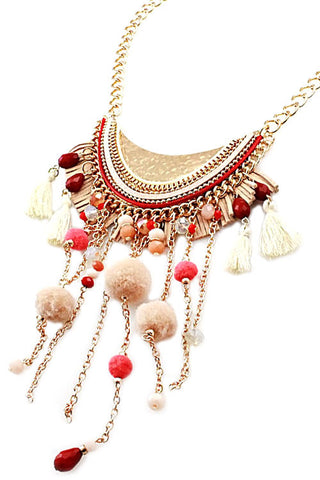 Fashion Chain Drop Pom Pom Necklace Set