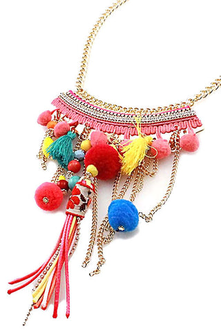 Fashion Tassel Pom Pom Necklace Set