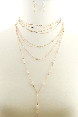 Multi Line Lariat Beads Necklace