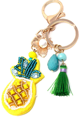 Embroidered Pineapple Tassel Keychain
