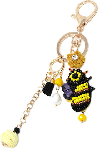 Embroidered Bee Keychain