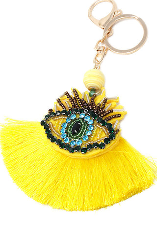 Bejeweled Eye Ball Tassel Keychain