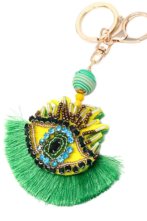 (4PCS) Bejeweled Eye Ball Tassel Keychain